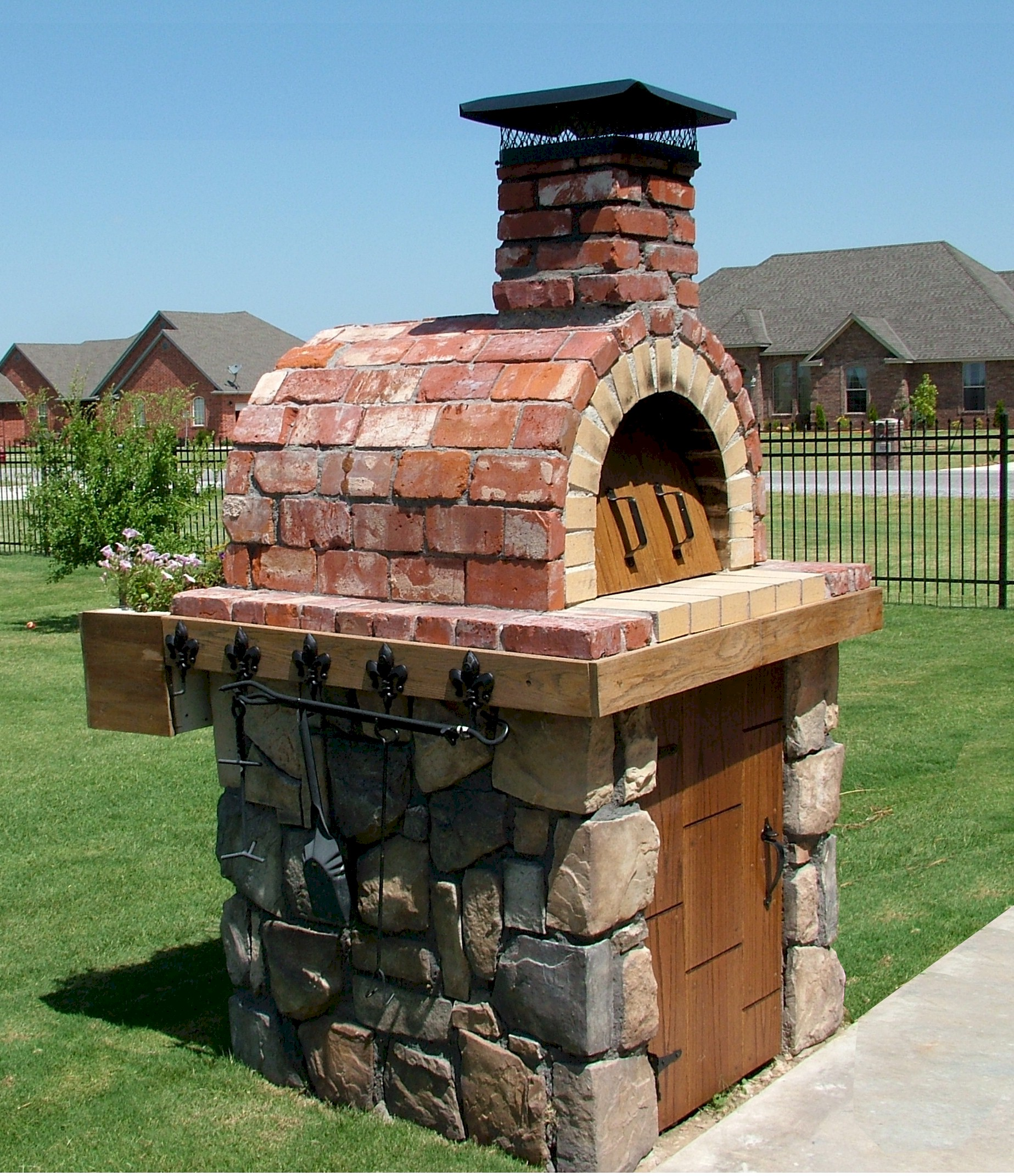 diy outdoor ideas and design oven pizza brick fireplace