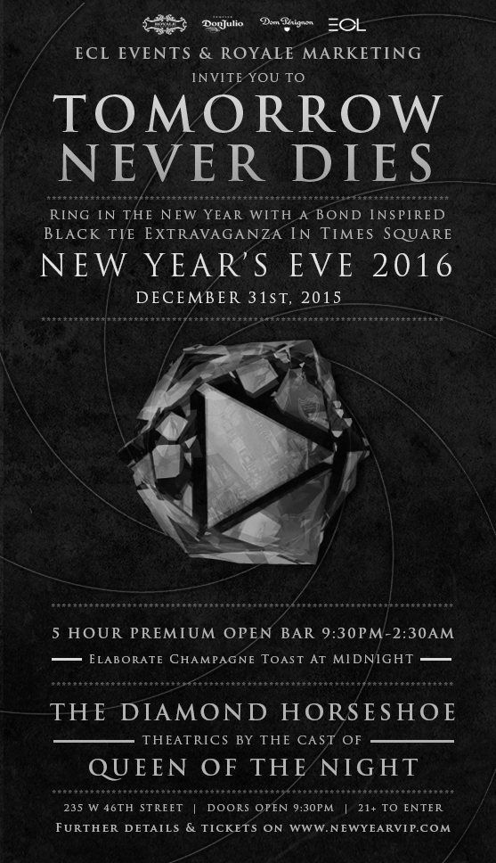 royale marketing presents a bond inspired new years eve gala at the diamond horseshoe in times square