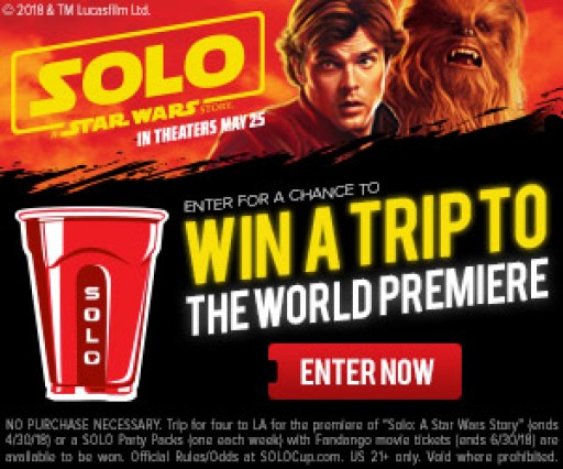 SOLO Delivers EPIC Sweepstakes for World Premiere of 'Solo: A Star Wars Story'